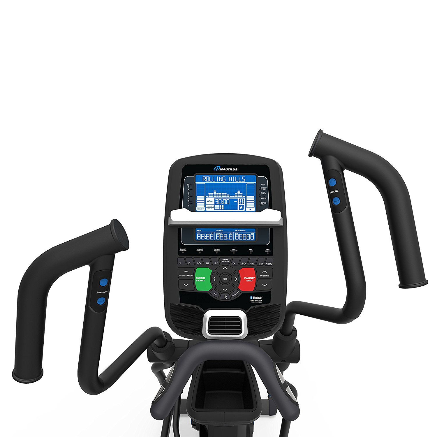Nautilus E618 Elliptical Console - Dual Backlit Display and Multi Position Arms